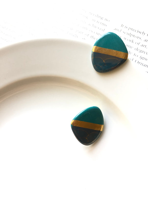 Polygon Gold Mottled Green Porcelain Stud Earrings