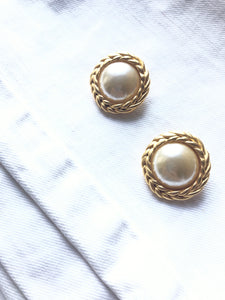 Premier,USA Encircled Pearl Gold Statement Earrings