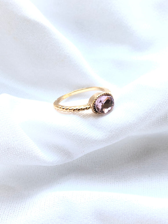 Purple Oval Gemstone Gold Solitaire Ring