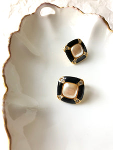 Rectangle Black White Enamel Gold Clip On Earrings