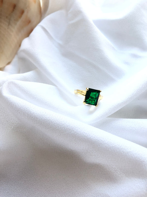 Rectangle Green 14k Gold Plated Solitaire Ring