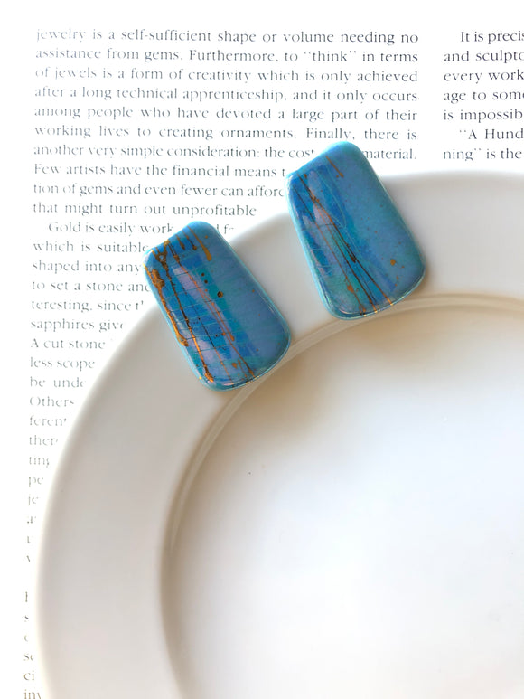 Rectangle Mottled Gold Blue Porcelain Stud Earrings
