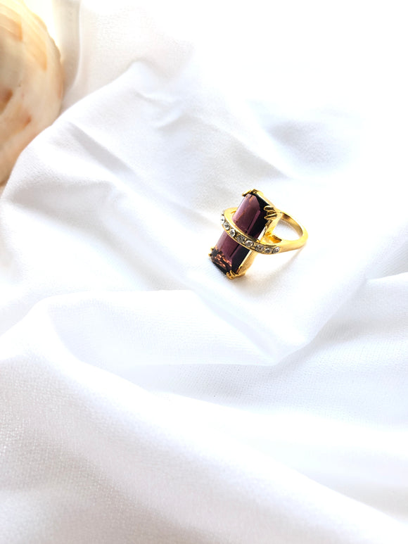 Rectangle Purple 14k Gold Plated Bar Ring