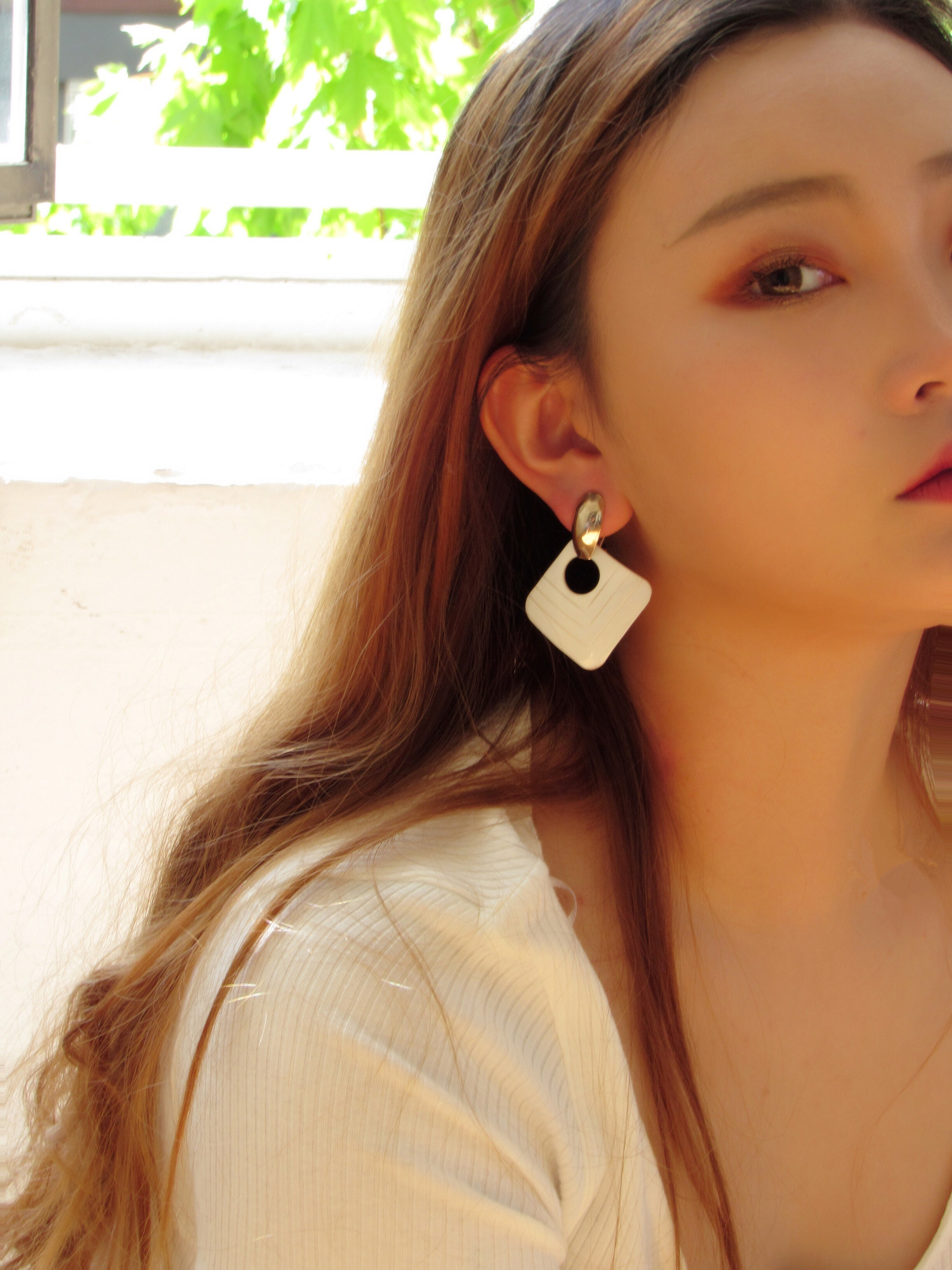 Rectangle White Mother Of Pearl Statement Earrings