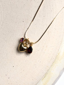 Red & Heart 18k Gold Plated Pendant Necklace