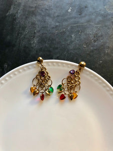 Retro Multi-color Heart Crystals Gold Dangle Earrings