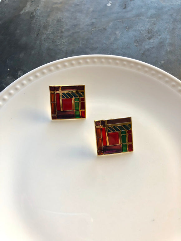Retro Square Multi-color Mosaic Enamel Paint Gold Post Earrings