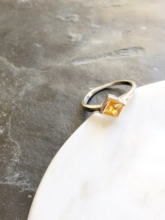 Rhombus Citrine Yellow Crystal Silver Promise Ring