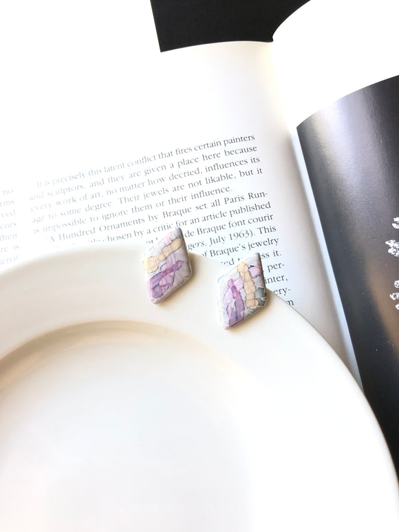Rhombus Marbled Purple Porcelain Stud Earrings