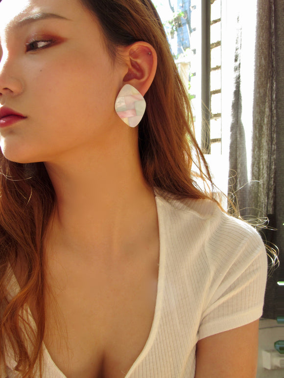Rhombus Multi-Color Mother Of Pearl Statement Earrings