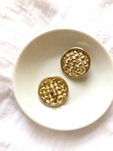 Sarah Conventry Weaving Ribbon Gold Clip On Earrings