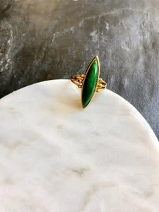 Sarah Cov. Lens Shape Green 14k Gold Plated Statement Ring