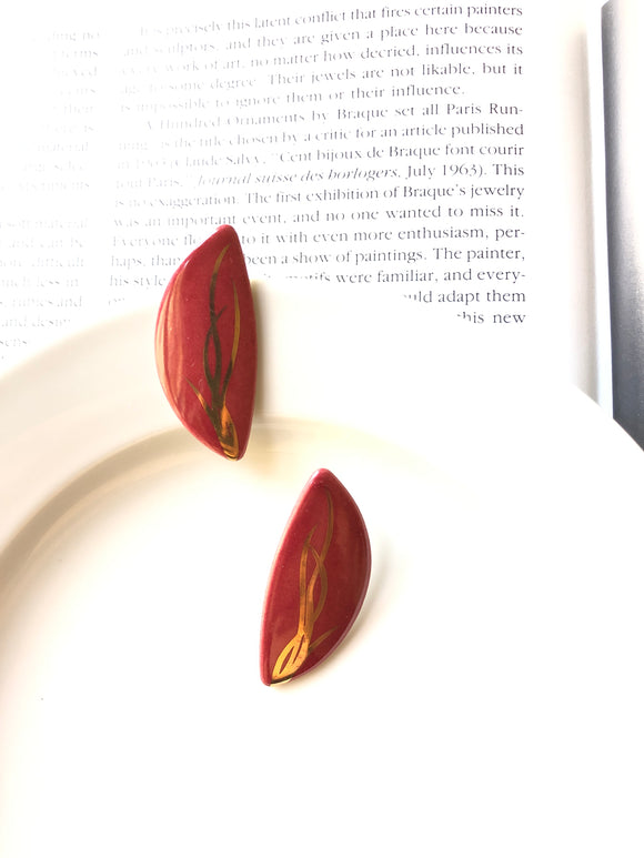 Semicircle Grass Painted Red Porcelain Stud Earrings