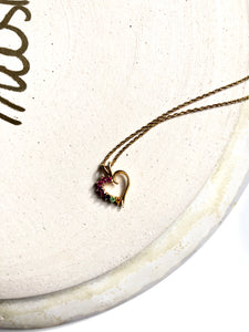 Side Rainbow Heart 18k Gold Filled Pendant Necklace
