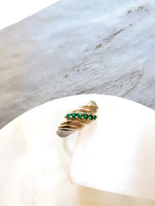 Slanted Green Synthetic Emerald Silver Ring