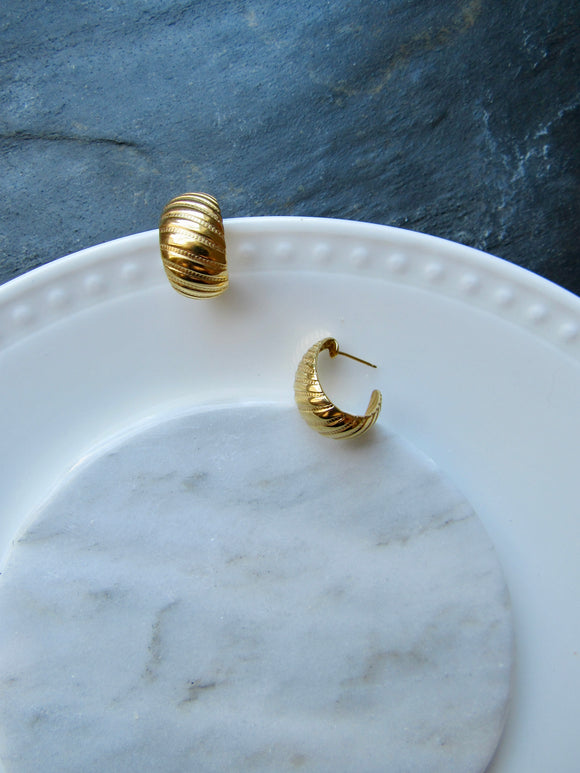 Slanted Stripe Gold Hoop Earrings