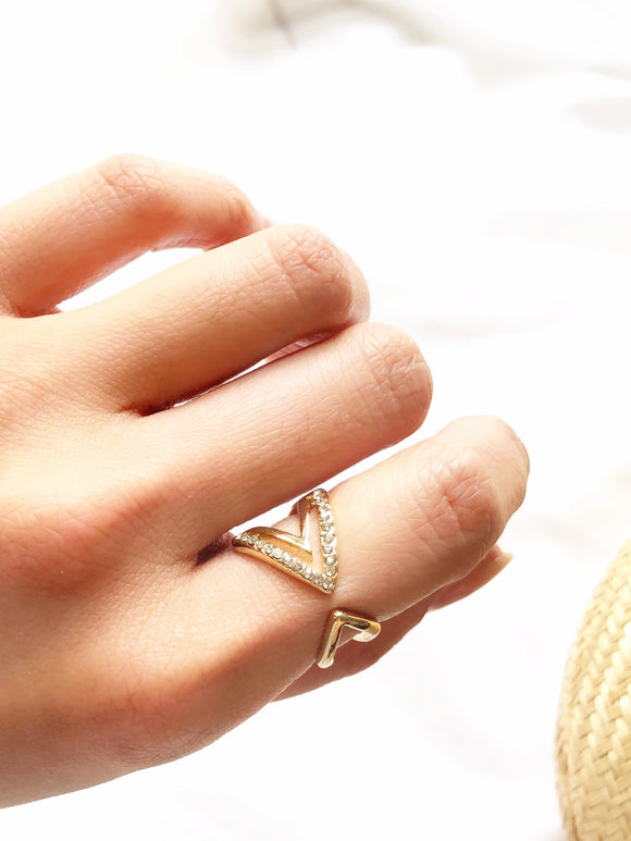 Sparkled Arrow 14k Gold Plated Open Ring