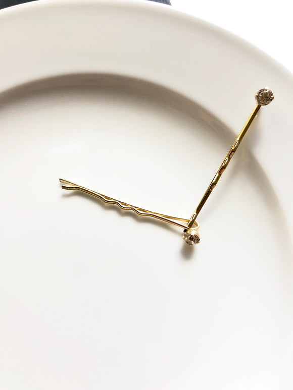 Sparkled Crystal 14k Gold Plated Bobby Pin