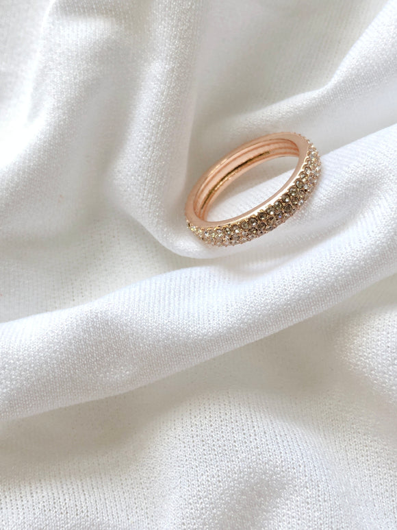 Sparkled Crystal Rose Gold Eternity Ring