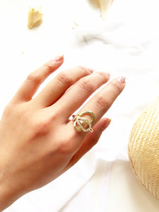 Sparkled Floral Petal 14k Gold Plated Statement Ring