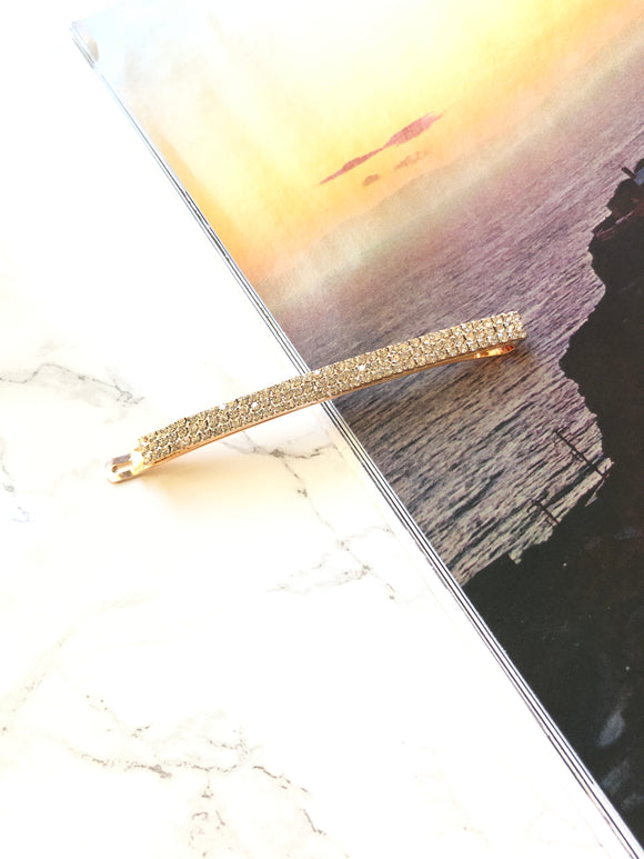 Sparkled Rectangle 14k Gold Plated Hair Barrette