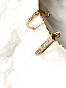 Sparkled Rectangle Rose Gold Hoop Earrings