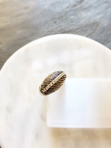 Sparkled Side Stone Slanted Texture Silver Dome Ring