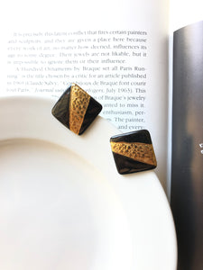 Square Gold Brown Porcelain Stud Earrings