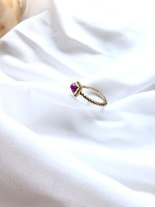 Square Violet 14k Gold Plated Solitaire Ring