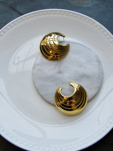 Striped Circle Gold Statement Earrings