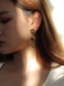 Three Circles Black Gold Dangle Earrings