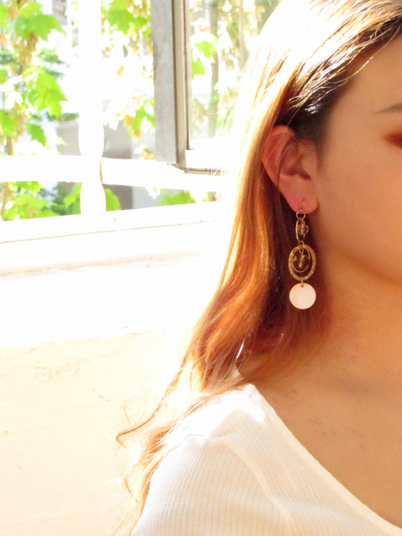 Three Circles Pink Pearl Gold Dangle Earrings