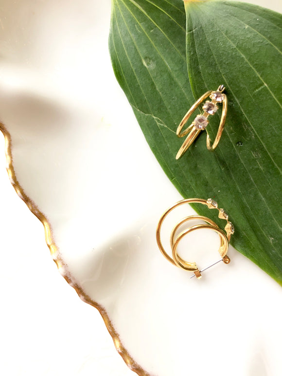 Three Dainty Circles Gold Hoop Earrings