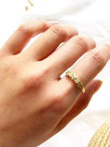 Three Hearts 14k Gold Plated Promise Ring
