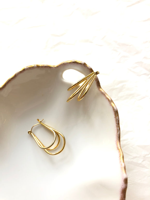 Three Long Rounds Gold Hoop Earrings