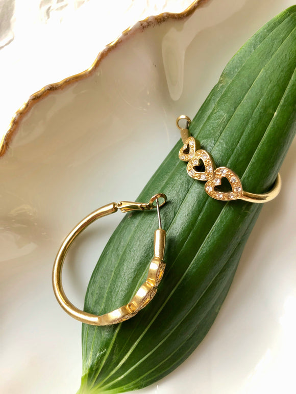 Three Sparkled Hearts Gold Hoop Statement Earrings