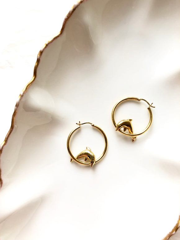 Tiny Dolphin Gold Hoop Statement Earrings