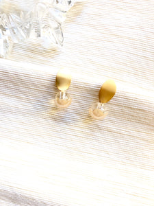Transparent Bead Oval Gold Dangle Earrings