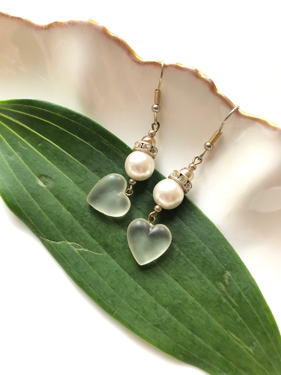 Transparent Heart Pearl Silver Dangle Earrings