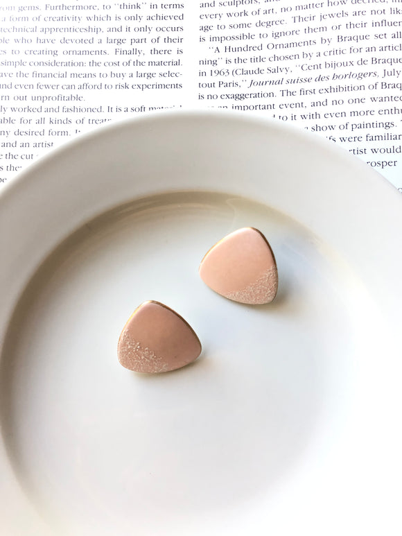 Trillion Mottled White Corner Pastel Pink Porcelain Stud Earrings