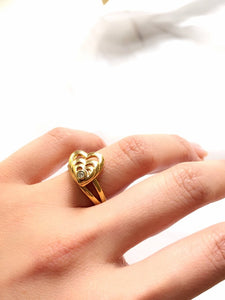 Trio Stacked Heart 14k Gold Plated Ring