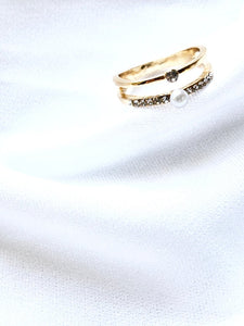 Twin Pearl & Crystal 14k Gold Plated Slim Ring