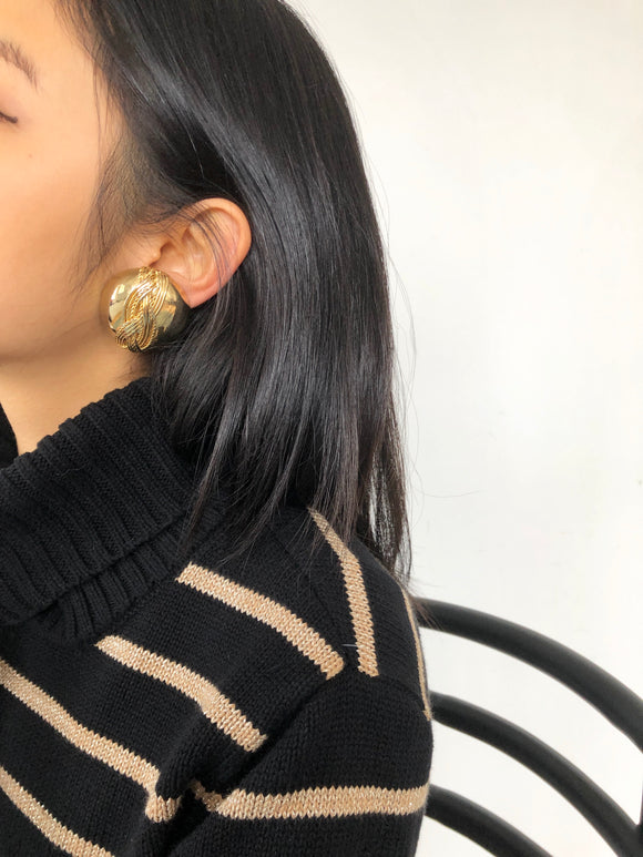 Twisted Rope Hemisphere Gold Statement Earrings