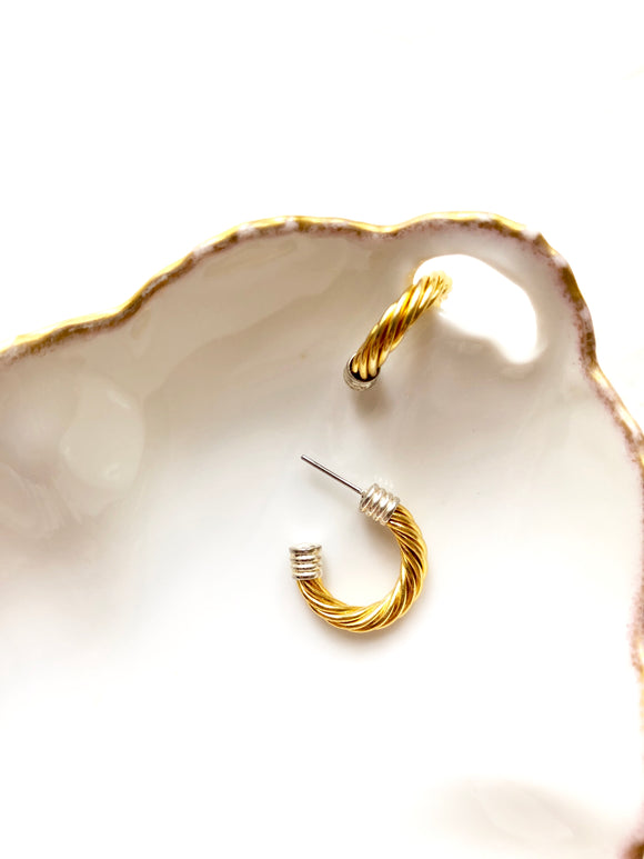 Twisted Wire Gold Hoop Earrings