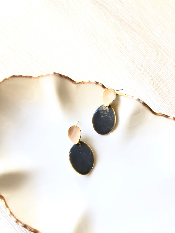 Two Oval White Grey Enamel Gold Dangle Earrings