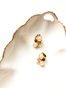 Victorian Embed Oval Pearl & Gemstones Gold Earrings