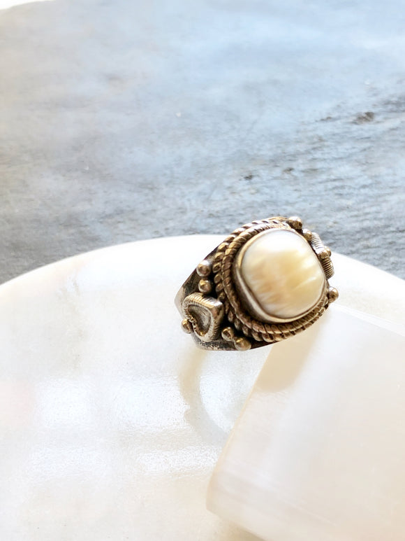 Victorian Embed Pearl Silver Cocktail Ring