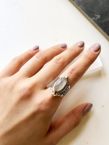 Victorian Hexagon White Moonstone Silver Cocktail Ring