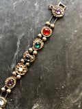 Victorian Multi-color Faux Gemstone Antique Silver Revival Slide Bracelet