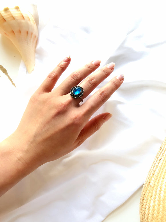 Victorian Oval Aqua Blue Sterling Silver Statement Ring